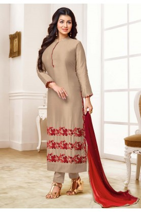 Party Wear Salwar Suit Beige Colour.