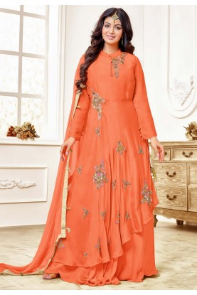 Orange Colour Party Wear Salwar Suit.