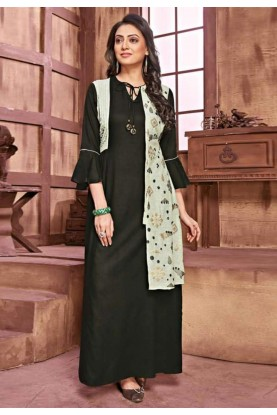 Black Colour Cotton Kurti.