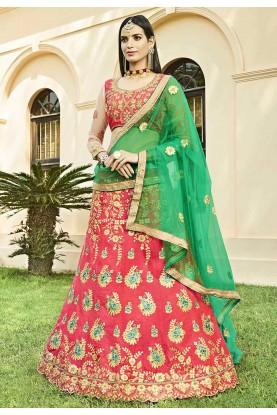 Pink Colour Silk Indian Lehenga Choli.