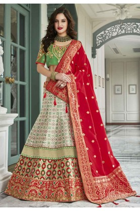 Green,Red Colour Silk,Jacquard Lehenga Choli.