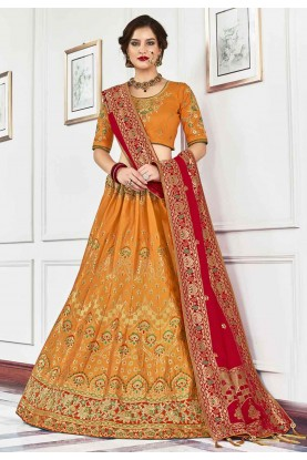 Orange,Red Colour Traditional Lehenga Choli.
