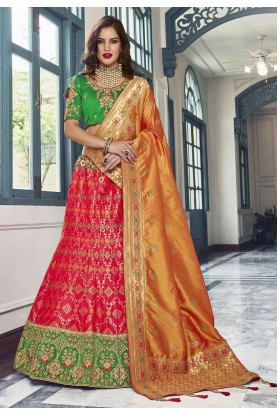 Orange,Pink Colour Wedding Lehenga Choli.