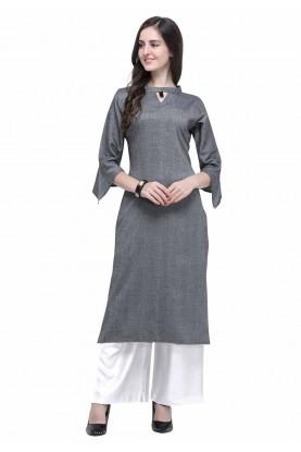 Grey Colour Readymade Women's Kurti.