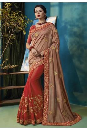 Brown,Red Colour Designer Saree.