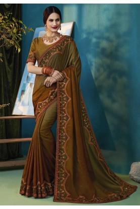 Multi Colour Silk Embroidered Saree.