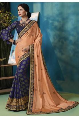 Orange,Blue Colour Designer Saree.