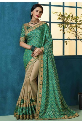 Green,Beige Colour Embroidered Saree.
