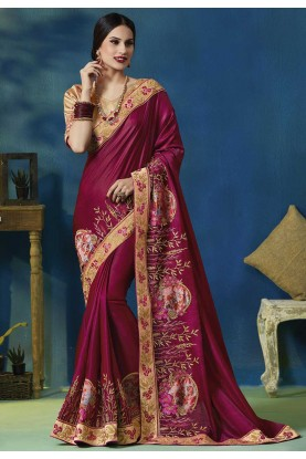 Maroon Colour Party Wear Silk Saree.