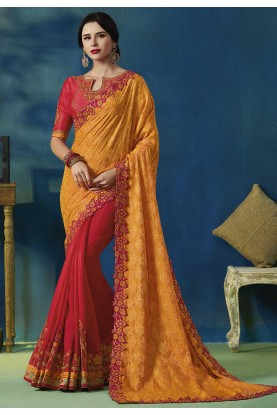 Orange,Red Colour Indian Designer Sari.