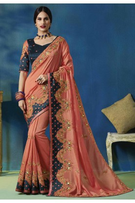 Peach Colour Traditional Silk Saree.