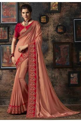 Peach Colour Designer Silk Saree.