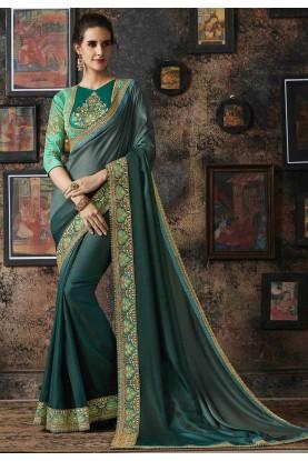 Green Colour Georgette,Silk Saree.