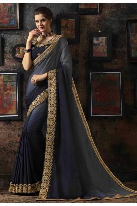 Grey,Blue Colour Party Wear Silk Saree.