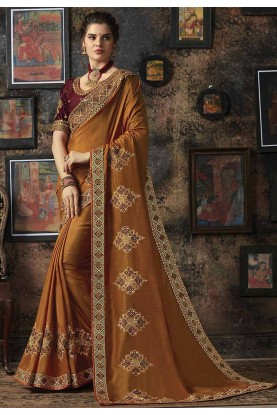 Brown Colour Indian Traditional Saree.