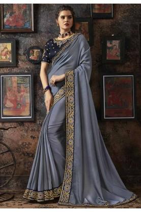 Grey Colour Party Wear Silk Sari.