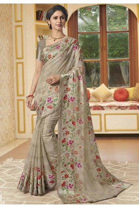 Beige Colour Printed Saree.