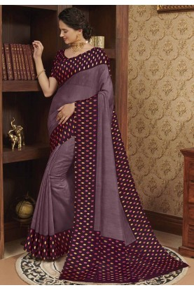 Party Wear Saree Purple Colour.