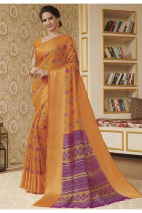Orange Colour Linen Saree.