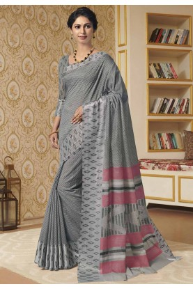 Grey Colour Casual Saree.