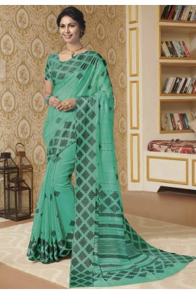 Turquoise Colour Linen Fabric Casual Saree.