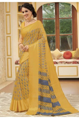 Yellow Colour Printed Casual Saree.