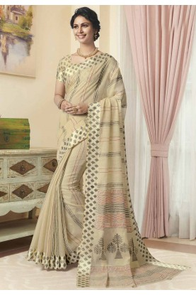 Printed Saree Beige Colour.