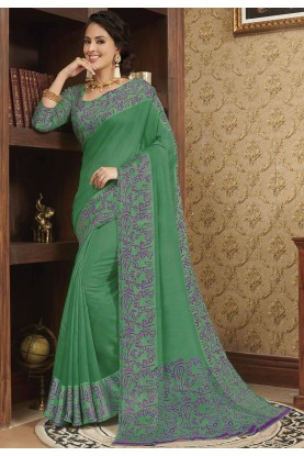 Green Colour Casual Saree.