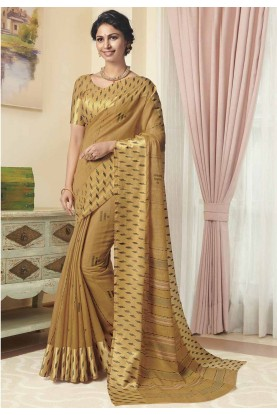 Golden Colour Printed Casual Sari.