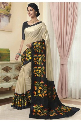 Cream Colour Printed Saree.