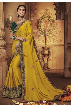Yellow Colour Wedding Saree.