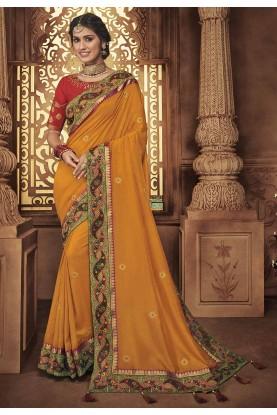 Orange Colour Indian Designer Saree.