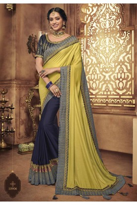 Yellow,Blue Colour Traditional Saree.