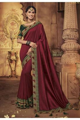Designer Bridal Saree Maroon Colour.