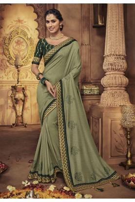 Silk Saree Green Colour.