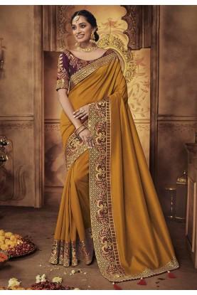 Orange,Yellow Colour Wedding Saree.