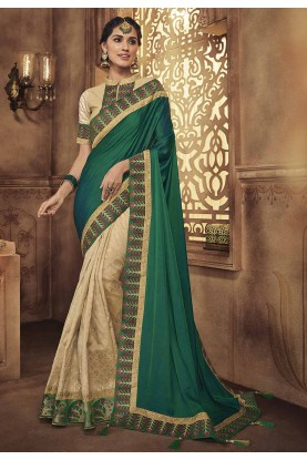 Green,Beige Colour Silk Sari.