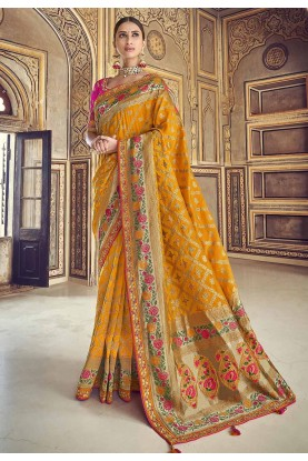 Yellow Colour Indian Traditional Saree.