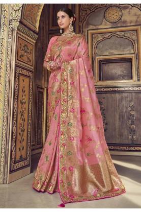Satin,Silk Party Wear Saree Pink Colour.