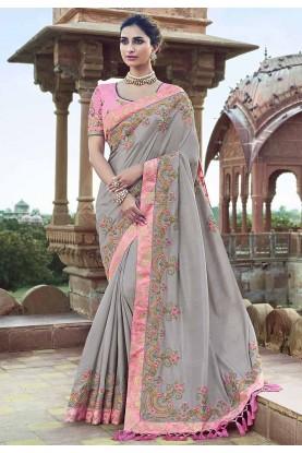Grey Colour Designer Silk Saree.