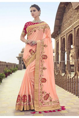 Peach Colour Embroidered Saree.