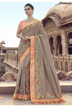 Designer Silk Saree Beige Colour.