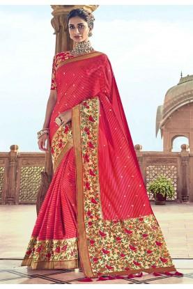 Red Colour Designer Saree.