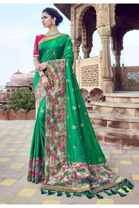 Green Colour Indian Traditional Saree.