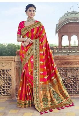 Orange,Pink Colour Indian Traditional Saree.