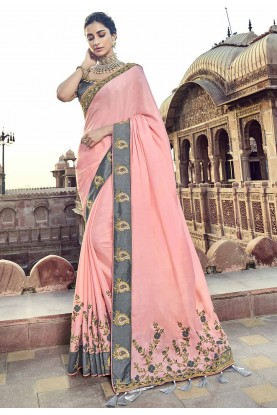Pink Colour Party Wear Saree.