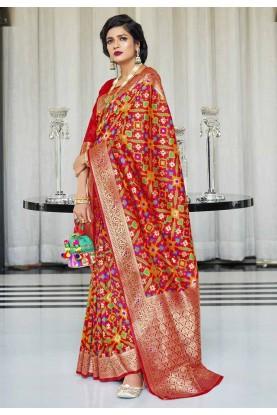 Red Colour Designer Silk Sari.