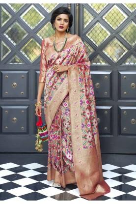 Light Pink Colour Weaving Saree.