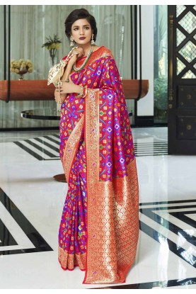 Pink,Red Colour Traditional Saree.
