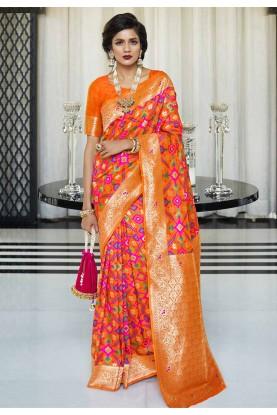 Orange Colour Silk Weaving Saree.